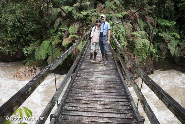 Debbie and me on hanging bridge, Rio Bombuscaro